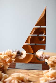 The new Pinnacle Awards trophy, designed by Mark Tucker