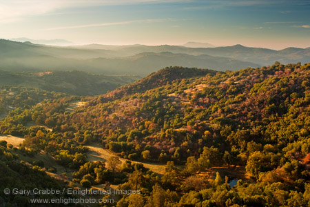 Picture: Sunrise light on the western Sierra foothills, Fresno County, California