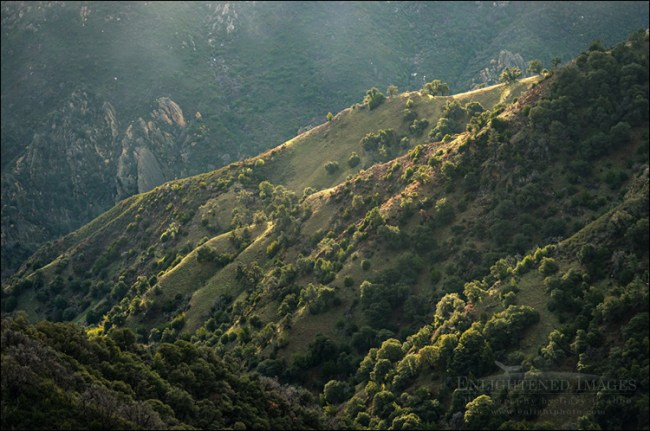 Image: Sunlight on the rugged mountain slopes of the Los Padres National Forest, Monterey County, California