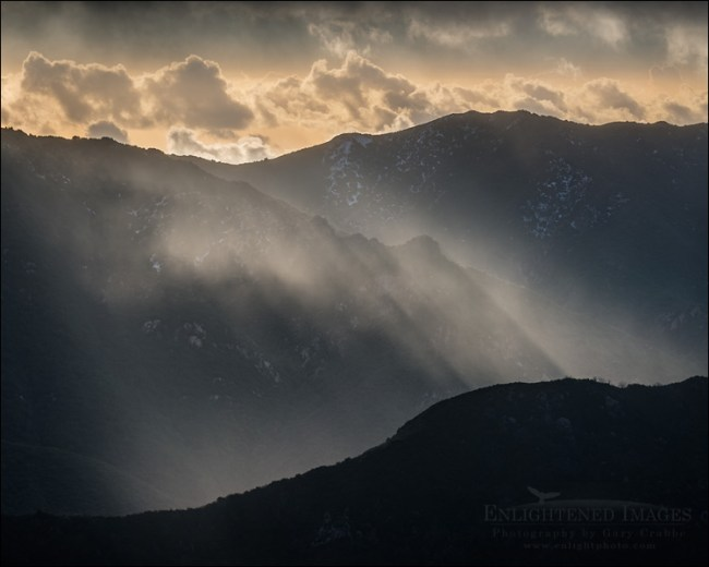 Image: Sunlit rain over mountain ridge in the Los Padres National Forest, Monterey County, California