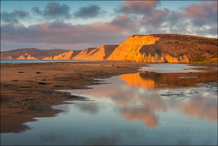 Image: Sunrise light on the cliffs above Drakes Bay, Point Reyes National Seashore, Marin County, California