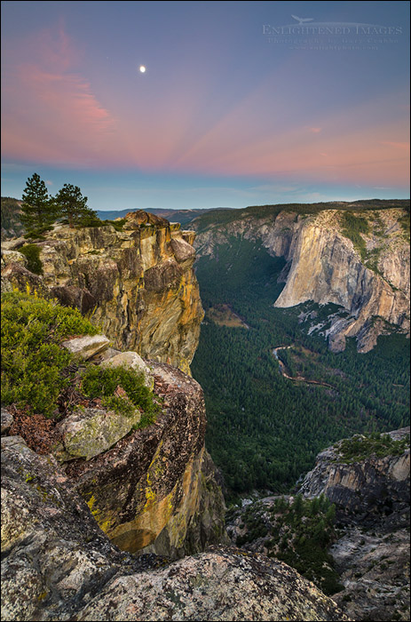 Image: Moonset at dawn over Yosemite Valley from Taft Point, Yosemite National Park, California