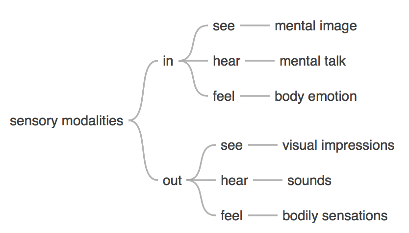 Shinzen Young's mapping of the 6 most relevant sensory modalities