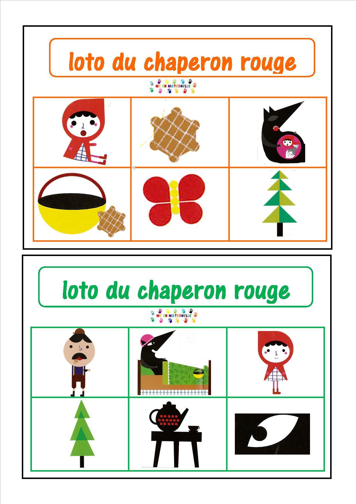 Le Petit Chaperon Rouge Loto Mc En Maternelle