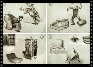 Cómo diseñar tu objeto especial: bocetos de la maleta de Newt (exterior)