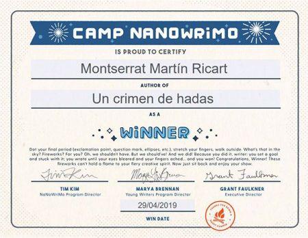 Descanso semanal & Camp NaNoWriMo: certificado de Un crimen de hadas