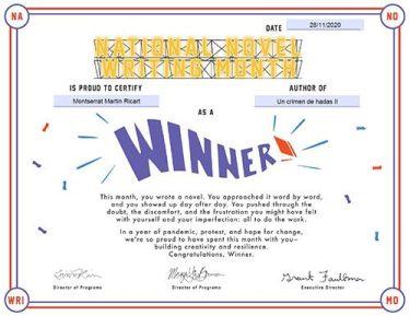 Certificado de ganadora del NaNoWriMo 2020