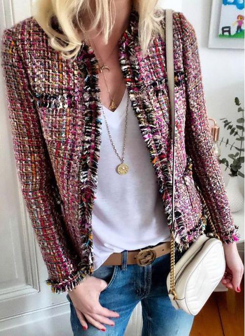 veste tweed avec jean
