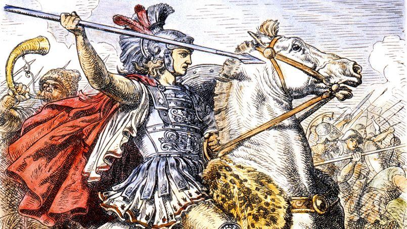 Alexandre le Grand (356-326 avJC) roi de Macedoine en 336-323 avJC, ici chevauchant son cheval favori Bucephale (de race Frison) , gravure allemande du 19e siecle --- Alexander the Great (356-326 BC) king of Macedonia in 336-323 BC, here riding his favourite horse, Bucephalus, 19th century german wood engraving