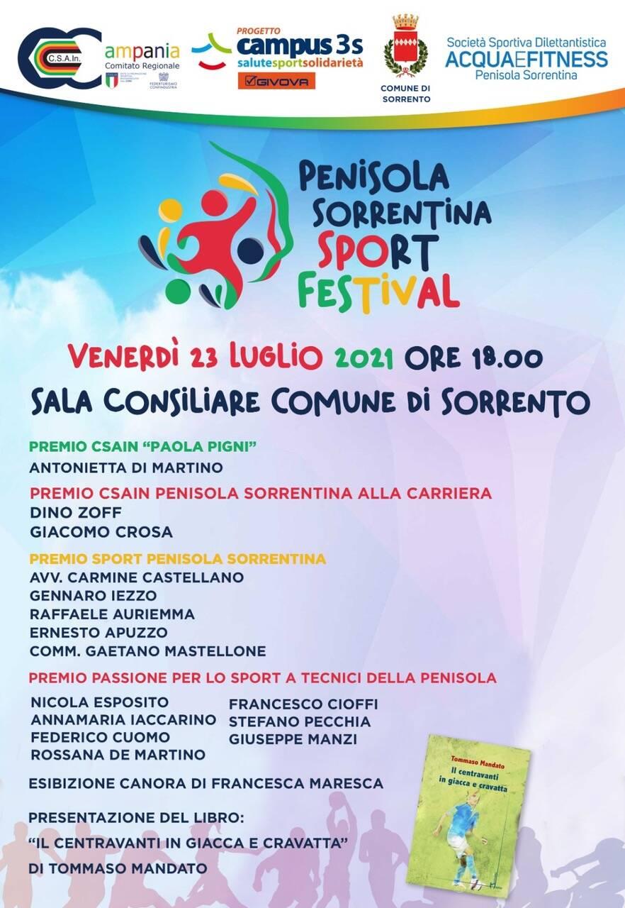 Penisola Sorrentina Sport Festival Dino Zoff, Antonietta Di Martino e Giacomo Crosa tra gli sportivi premiati