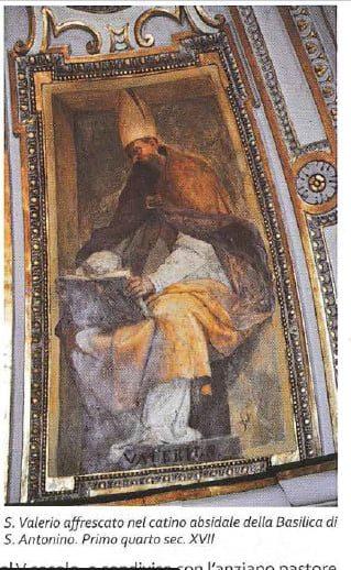 Image may contain: one or more people, text that says 'b:0 S. Valerio affrescato nel catino absidale della Basilica di S. Antonino. Primo quarto sec. XVII'