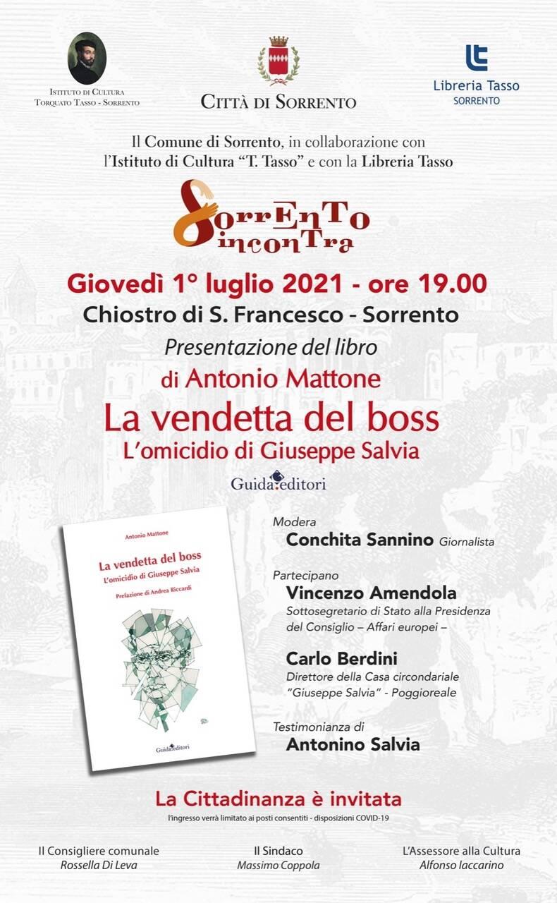 """Libri. Antonio Mattone a Sorrento con """"La vendetta del boss. L'omicidio di Giuseppe Salvia"""""""