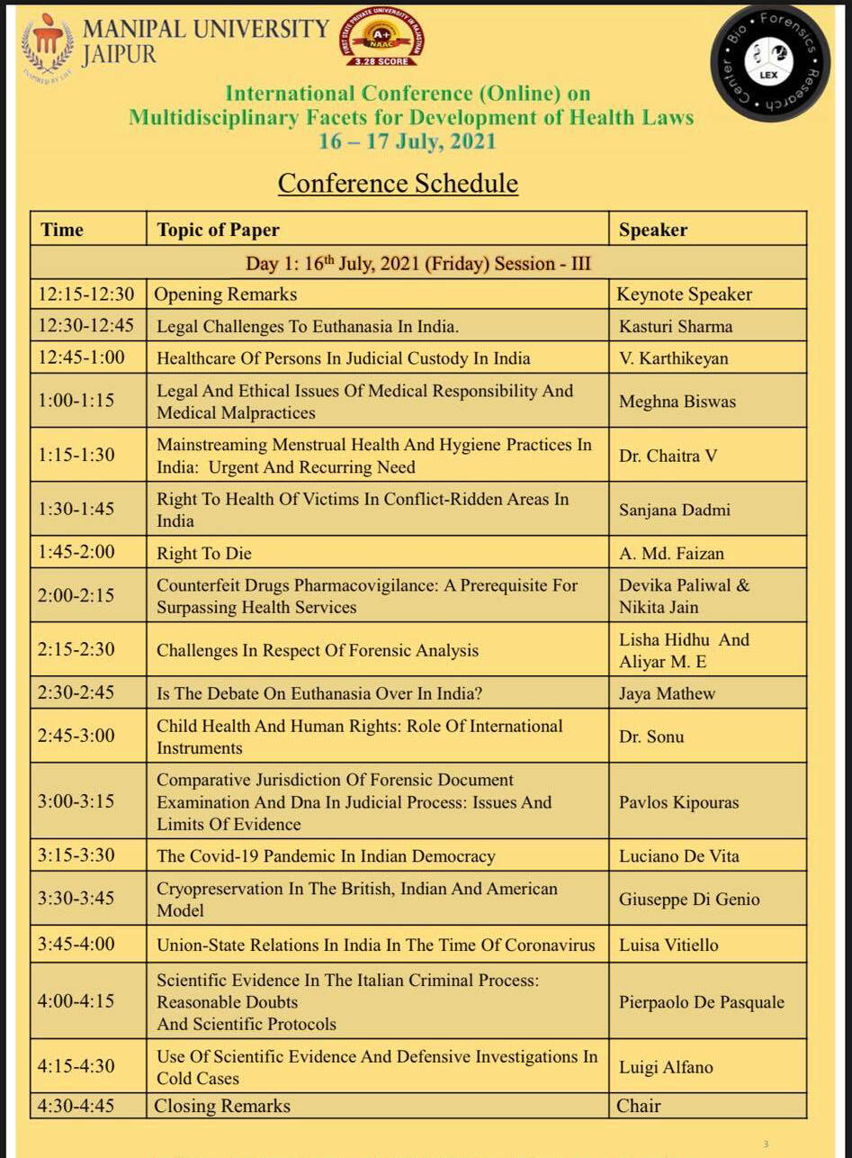 """Conferenza Internazionale """"Multidisciplinary facets for development of health law"""". Tra i relatori l'Avv. Luigi Alfano"""