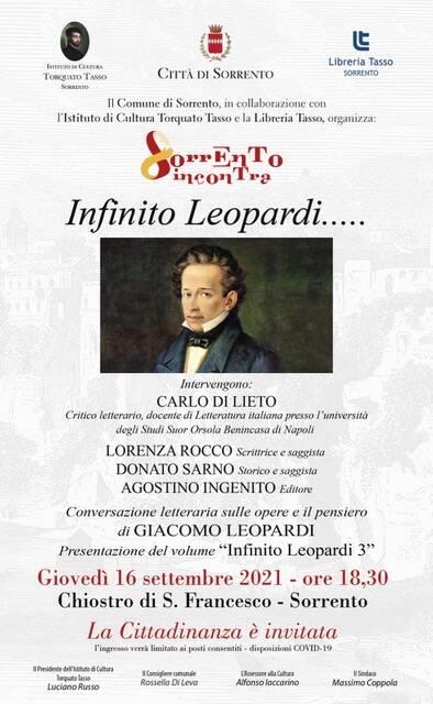 """Cultura. A Sorrento Incontra, """"Infinito Leopardi"""""""