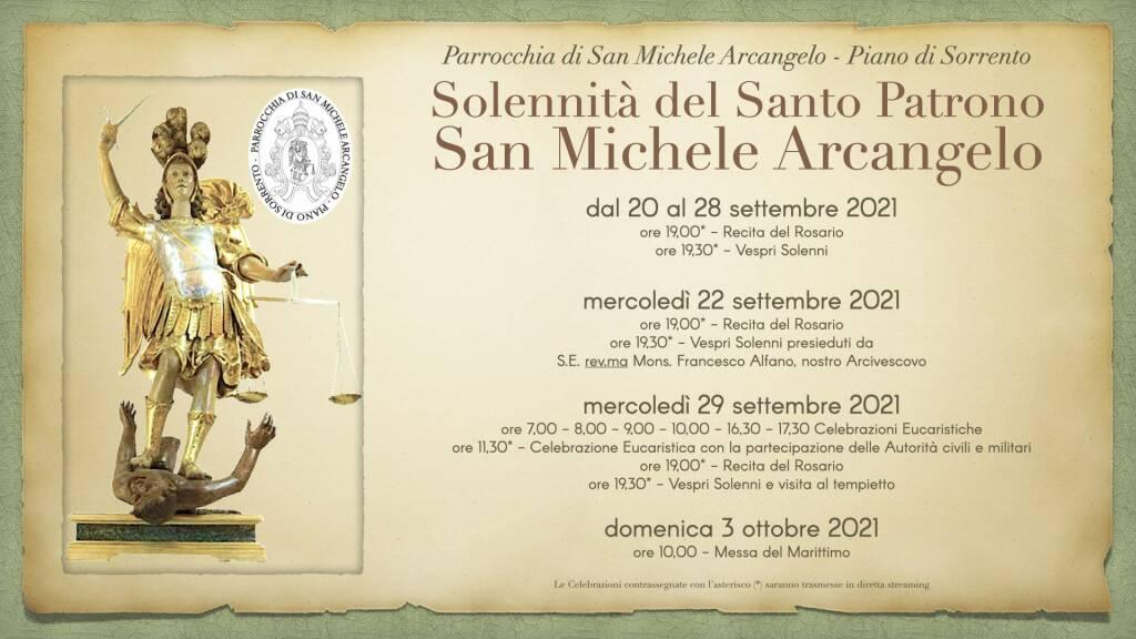 Piano di Sorrento, ecco il programma religioso per la solennità di San Michele Arcangelo