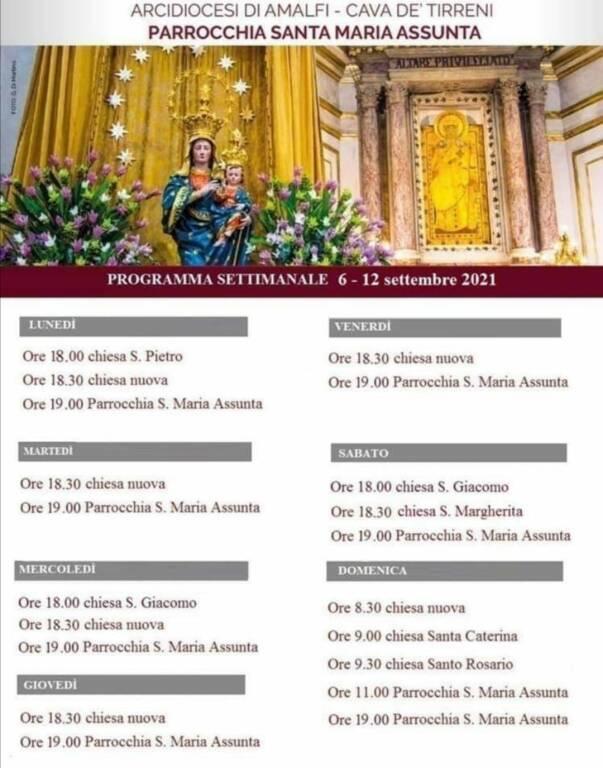 Positano, Parrocchia di Santa Maria Assunta. Celebrazioni religiose da lunedì 6 a domenica 12 settembre 2021