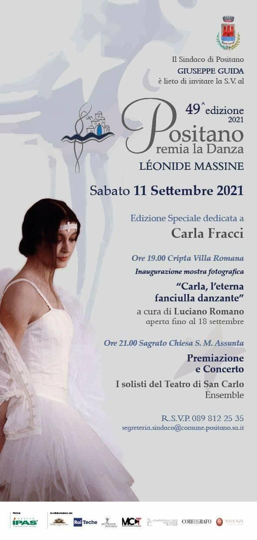Sabato 11 settembre la 49^ edizione di Positano Premia la Danza Léonide Massine, dedicata a Carla Fracci