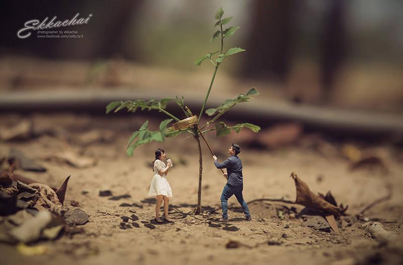 Fotgrafo Est Miniaturizando Casais Para Ensaios