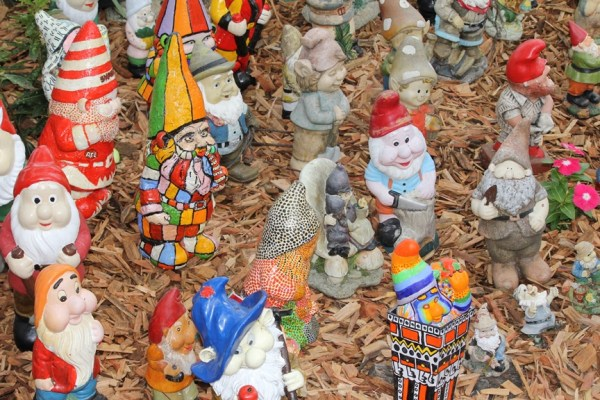 Garden gnomes on display.