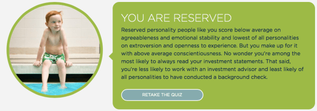 """InvestRight Personality Quiz results for Mrs. ETT, who is """"Reserved""""."""