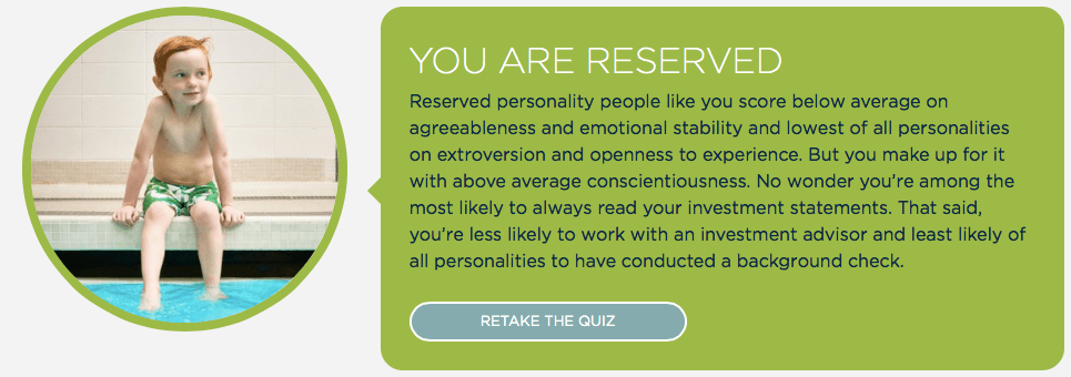 "InvestRight Personality Quiz results for Mrs. ETT, who is ""Reserved""."