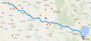 Google Map of Hamilton to Rotorua Route.
