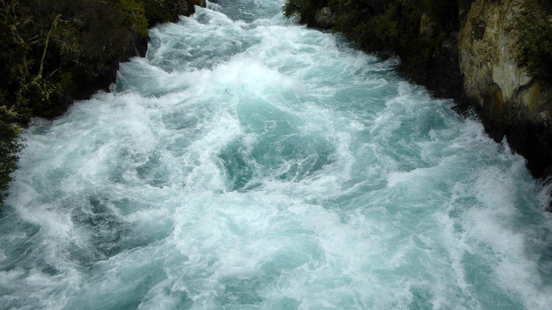 Looking down onto the jade green water of Huka Falls.