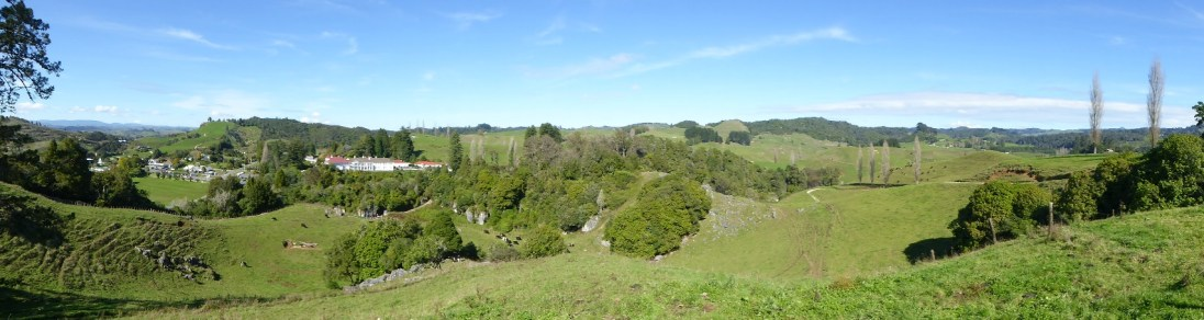 View from the lookout over Waitomo Caves.