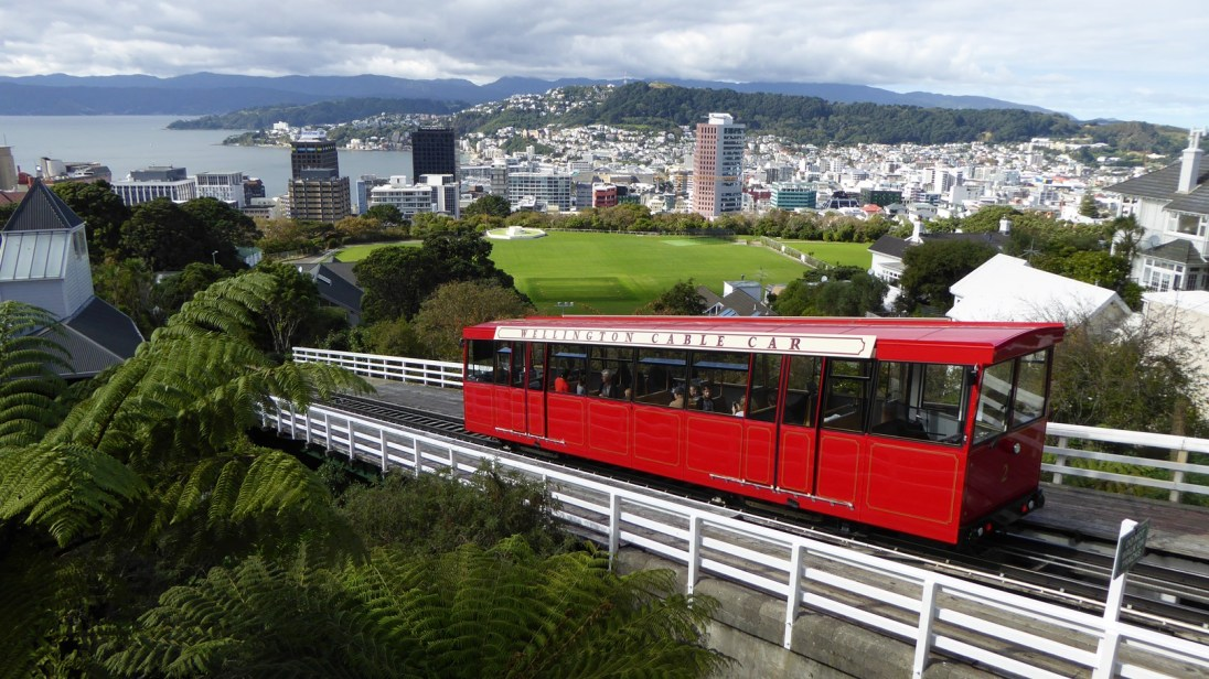 The Wellington Cable Car from the top of the hill.