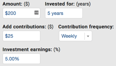 $200 invested for 5 years with $25 weekly contributions earning 5% interest.