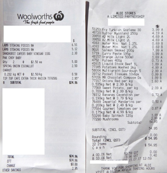 Aldi and Woolworths receipts side by side.