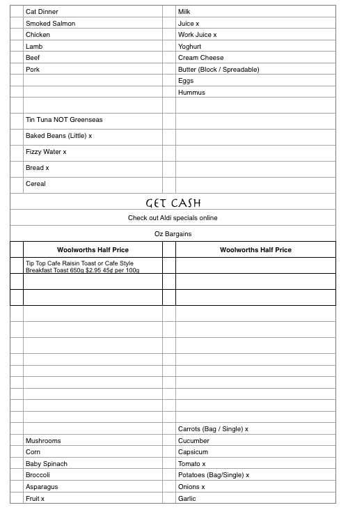 A blank template for grocery shopping.