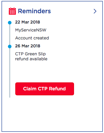 ServiceNSW Claim CTP Refund Dashboard Tile