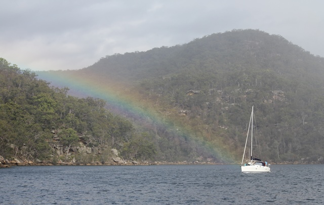 Rainbow and sailing boat on the Hawkesbury River