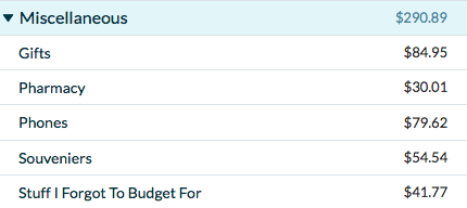 Screenshot of YNAB Miscellaneous Travel Expenses Categories