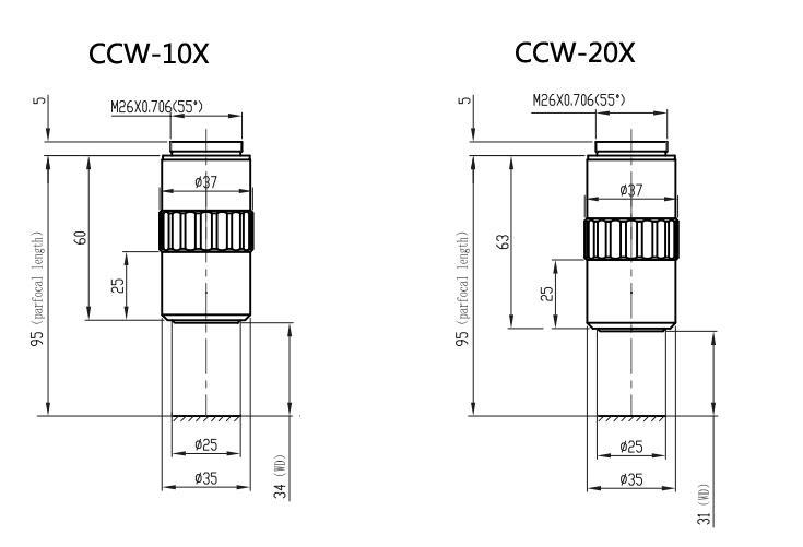 CCW-2X/5X/10X/20X/50X/100X/20XD/50XD Infinity Corrected
