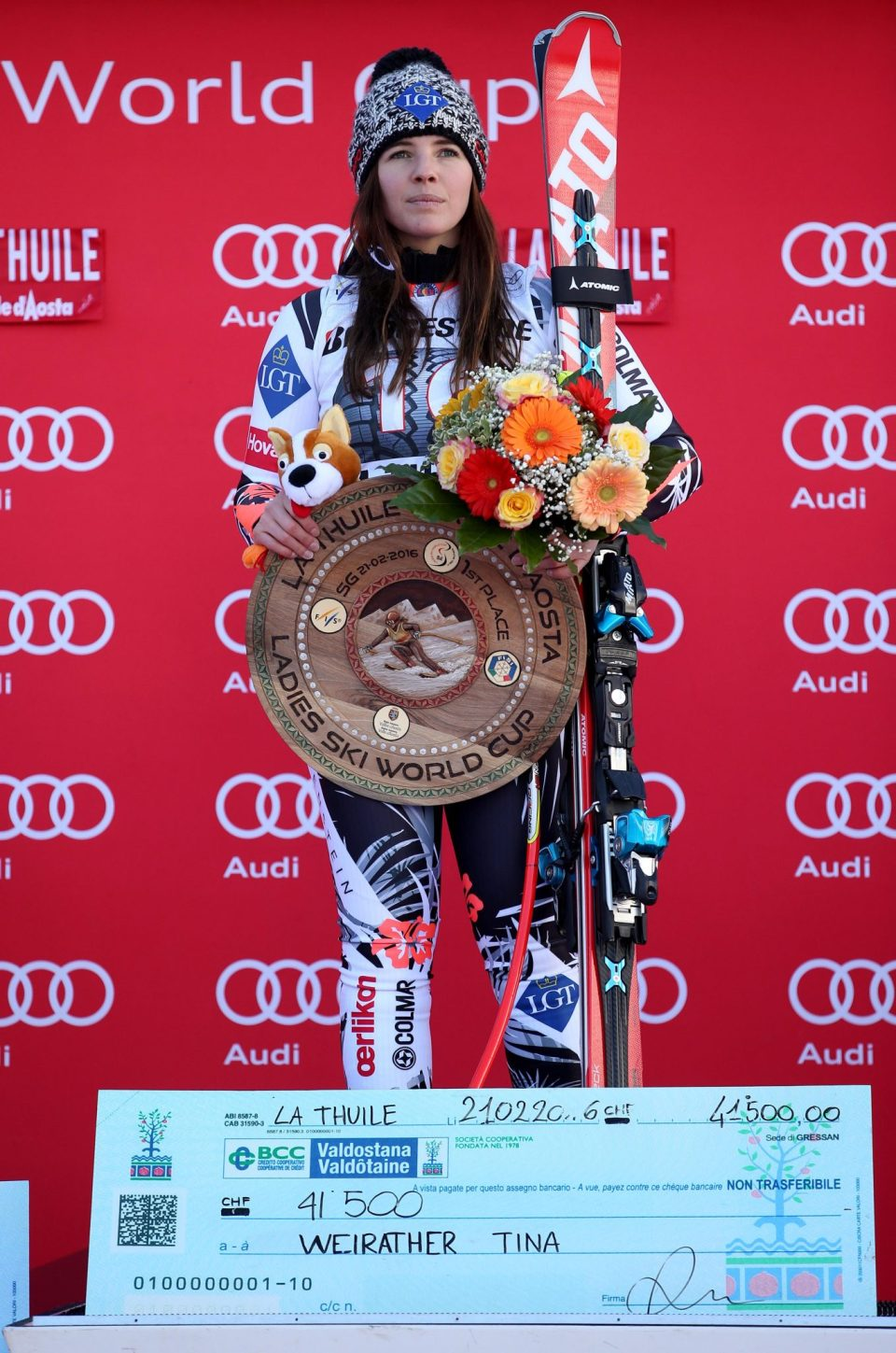 LA THUILE,ITALY,21.FEB.16 - ALPINE SKIING - FIS World Cup, Super G, ladies, award ceremony. Image shows Tina Weirather (LIE). Photo: GEPA pictures/ Daniel Goetzhaber
