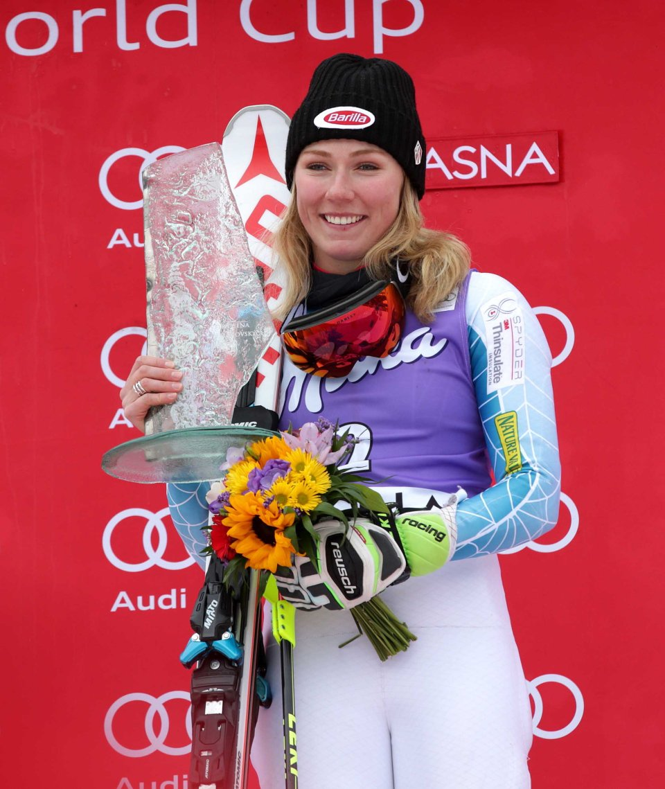 JASNA,SLOVAKIA,06.MAR.16 - ALPINE SKIING - FIS World Cup, slalom, ladies, award ceremony. Image shows Mikaela Shiffrin (USA). Keywords: trophy. Photo: GEPA pictures/ Walter Luger