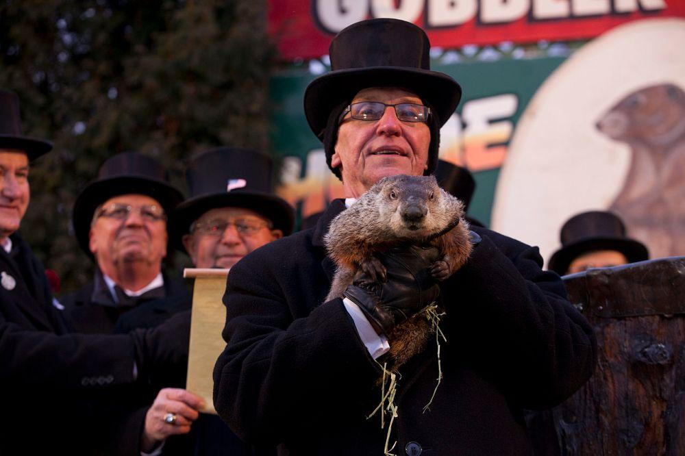el día de la marmota con phyl en Punxsutawney