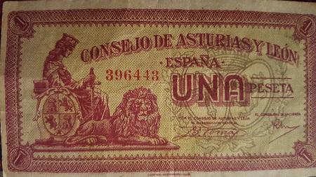"""Billete de 1 peseta del Consejo de Asturias y León. Los populares """"Belarminos"""""""