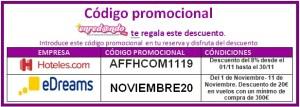 código promocional noviembre 2019