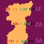 MAPA DATOS REGION LEONESA -LEÓN, ZAMORA Y SALAMANCA- COVID 19 A 22 de abril de 2020