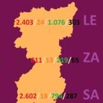 MAPA DATOS REGION LEONESA -LEÓN, ZAMORA Y SALAMANCA- COVID 19 A 20 DE ABRL DE 2020