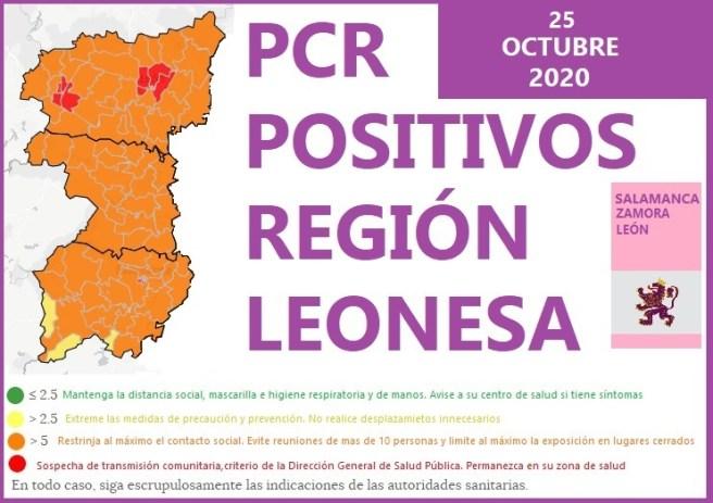 PCR POSITIVOS EN LA REGIÓN LEONESA SALAMANCA ZAMORA Y LEÓN A 25 DE OCTUBRE DE 2020