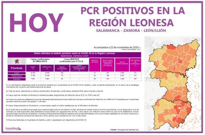 PCR COVID19 A 23 NOVIEMBRE 2020 REGIÓN LEONESA SALAMANCA, ZAMORA Y LEÓN