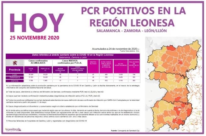 PCR COVID19 A 25 NOVIEMBRE 2020 REGIÓN LEONESA SALAMANCA, ZAMORA Y LEÓN