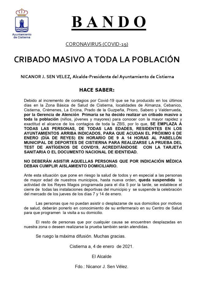 TEST MASIVOS DE ANTÍGENOS EN LA ZONA BÁSICA DE SALUD DE CISTIERNA