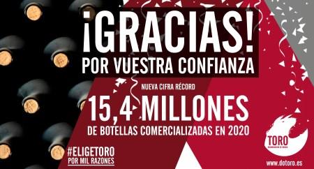 Las cifras de ventas del año 2020 en la D.O. Toro consiguen batir récords un año más ya que nos sitúan por encima de los 15,4 millones de botellas comercializadas superando los datos de ventas del año 2019