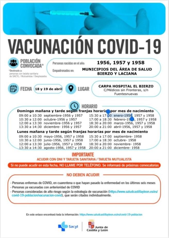 Bierzo vacunará frente a la COVID-19 a las personas de 63 a 65 años