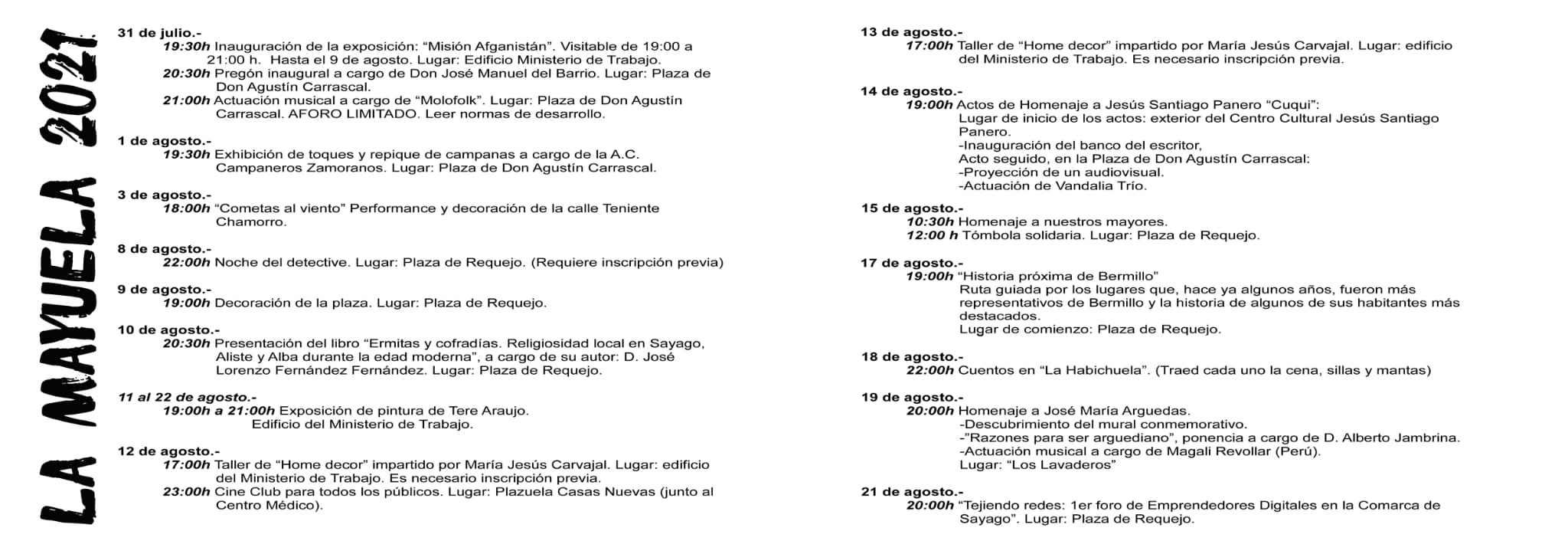 LaMayuela hace público el programa de actividades